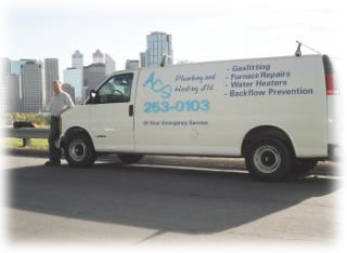 ACS Plumbing and Heating Van and Mark Janzen in Calgary and Bragg Creek